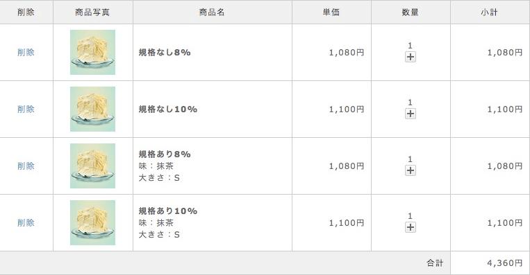 現在のカートの中ページでは正常に8%と10%が表示されています