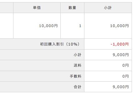 初回購入時の注文確認画面